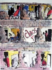 Chaos / Aquarelle et encre / 50 x 70