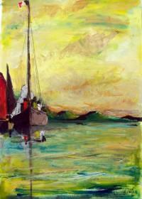 Au mouillage / Aquarelle / 50 x 70