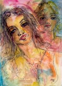 Visages / Aquarelle et encre / 50 x 70