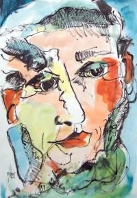 Portrait / Aquarelle et encre / 30 x 50