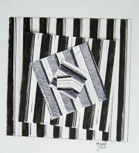 Composition / Encre et collage / 30 x 30