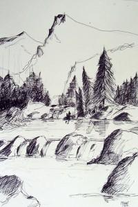Cascades / Encre / 65 x 50