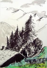 Paysage montagnard / Encre et aquarelle / 65 x 50