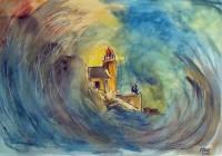 Tempête sur le phare / Aquarelle et gouache / 50 x 65