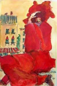 L homme en rouge / Aquarelle / 65 x 50