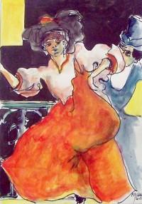 Au cabaret / Aquarelle et encre / 40 x 30