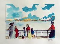 Promenade maritime / Encre et aquarelle / 30 x 40