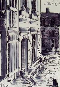 La ruelle / Encre / 40 x 30