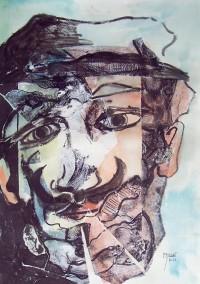 Portrait / Encre et aquarelle sur collages / 48 x 33