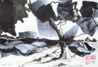 Paysage / Encre et collages / 50 x 65