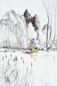 Le chien et la barque / Encre et aquarelle / 65 x 50