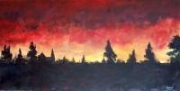 Coucher de soleil / Acrylique sur panneau / 45 x 90