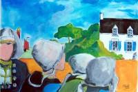 Les bretonnes / Aquarelle et gouache / 50 x 65