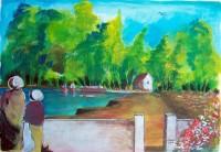 L entrée de l étang / Aquarelle et gouache / 50 x 65