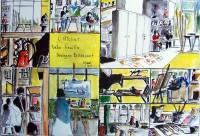 L atelier Belle feuille / Encre et aquarelle / 50 x  65