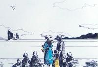 Attente du retour des pecheurs / Encre et aquarelle / 30 x 40
