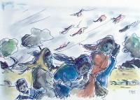 Dans le vent / Encre et aquarelle / 50 x 65