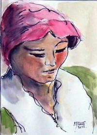 Portrait / Encre et aquarelle / 30 x 40