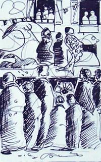 Le passage des chars / Encre/ 30 x 40