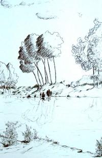 Sur la rive / Encre / 50 x 70