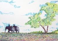 Elephants en promenade / Pointillé aux feutres / 70 x 50