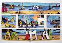 Animal à la mer / Encre et aquarelle / 70 x 50