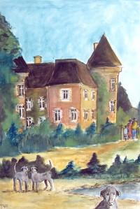 Les gardiens du manoir / Encre et aquarelle / 50 x 70