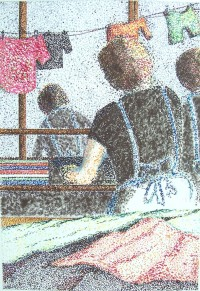 Lingères au travail / Pointillé aux feutres / 50 x 70