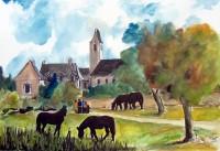 Dans les prés / Encre et aquarelle / 70 x 50