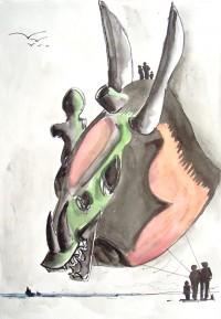 Un monstrueux volant / Encre et aquarelle / 50 x 70