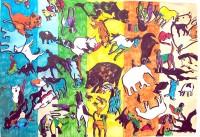Pèle mèle animal / Encre et aquarelle / 70 x 50