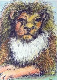 Le vieux roi / Encre et crayons de couleurs / 50 x 70