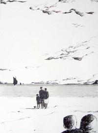 Ensemble sur la plage / Encre / 50 x 70