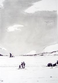 Famille sur la plage / Encre / 50 x 70
