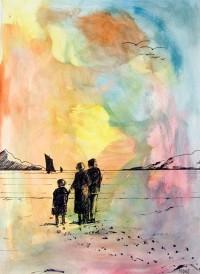 Marine en famille / Aquarelle et encre / 50 x 70