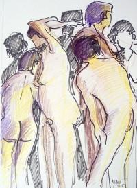 Groupe de modèles / Encre et crayons de couleurs / 50 x 70