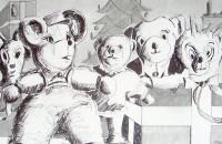Noel en peluches / Encre / 70 x 50