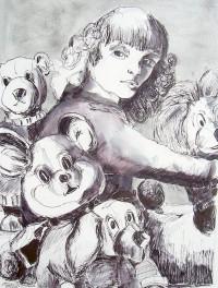 Jeune fille aux peluches / Encre / 50 x 70
