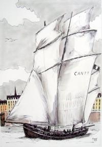Retour au port / Encre et aquarelle / 50 x 70