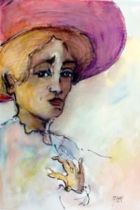 Portrait au chapeau / Encre et aquarelle / 50 x 70