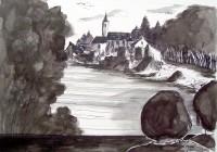 Vue du pont / Encre / 70 x 50