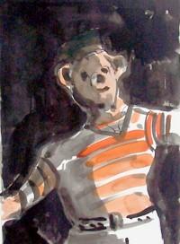 Ourson au maillot orange / Encres / 30 x 40