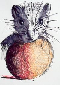 Le rat boule / Encre et feutres / 30 x 40
