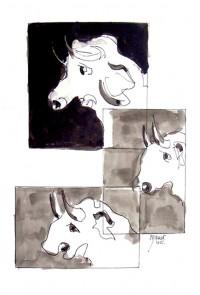 Mirages bovins / Encre / 30 x 40