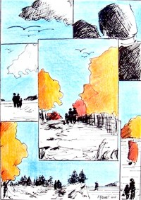 Souvenirs de promenades / Encre et crayons de couleurs / 30 x 40