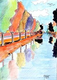 Au bord du canal / Encre et crayons de couleurs / 30 x 40