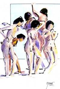 Les sept muses / Encre et crayons de couleurs / 30 x 40