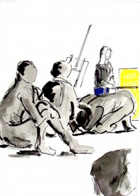 Un coin de l'atelier / Encre et aquarelle / 30 x 40