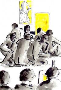 Groupe de modèles / Encre et aquarelle / 30 x 40
