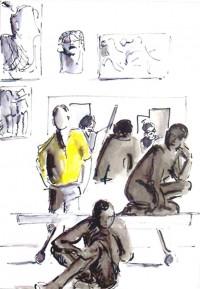 Un coin de l'atelier / Enjcre et aquarelle / 30 x 40